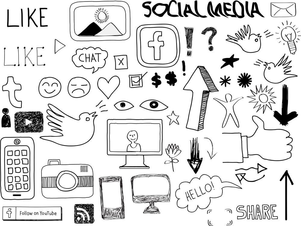 Dibujos de social media, logotipos de redes sociales